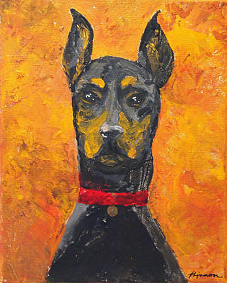 Dog Painting - Dobie Girl by Veronica Zimmerman