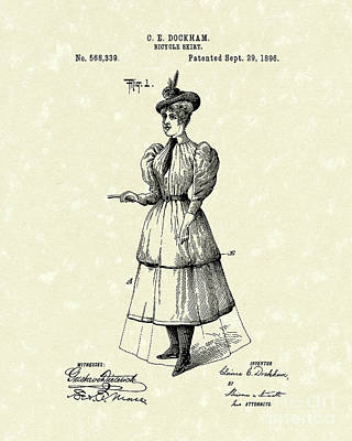 1890s Drawing - Dockham Bicycle Skirt 1896 Patent Art  by Prior Art Design
