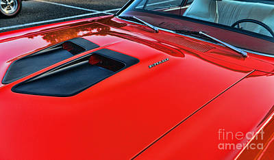 Dodge Super Bee Hood  In Red Print by Paul Ward