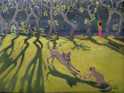 Monkey Painting - Dog And Monkey by Andrew Macara