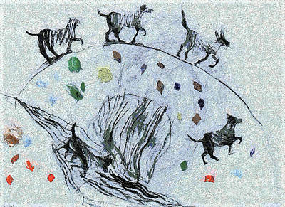 Odon Painting - Dogs In The Field by Odon Czintos