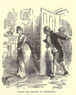Dolley Madison Saving The Portrait Print by Everett