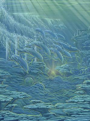 Atlantis Painting - Dolphins Atlantis by Richard Fields