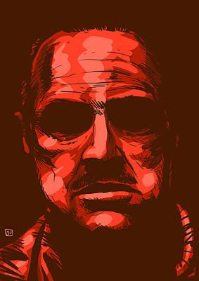 Marlon Drawing - Don Vito Corleone by Giuseppe Cristiano