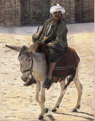 Cairo Mixed Media - Donkey Rider In Cairo  by Randy Sprout