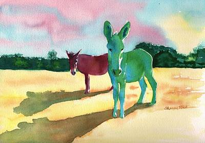 Donkey Watercolor Painting - Donkeys With An Attitude by Sharon Mick