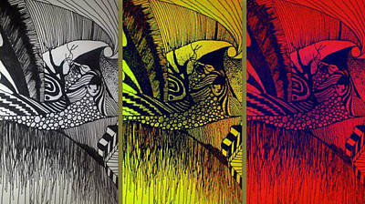 Tryptych Drawing - Doodle by Susan  Solak