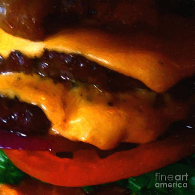 Double Cheeseburger With Bacon - Square - Painterly Print by Wingsdomain Art and Photography
