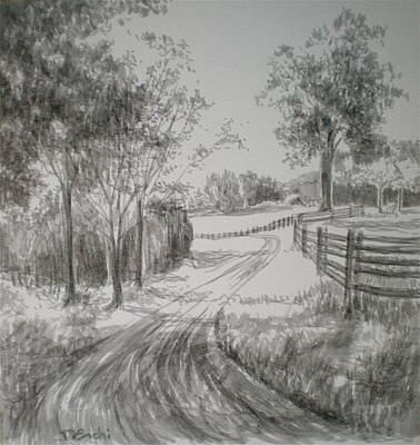 Pasture Scenes Drawing - Down The Lane by Dominique Eichi