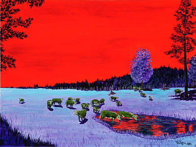 Cattle Painting - Down To The Wateringhole by Randall Weidner