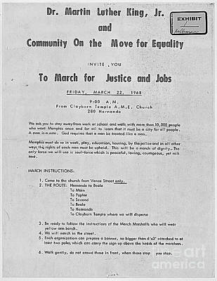 Dr. King Memphis March -- For Justice And Jobs Print by David Bearden