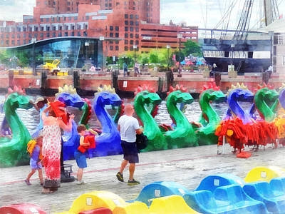Boardwalk Photograph - Dragon Boats Baltimore Md by Susan Savad