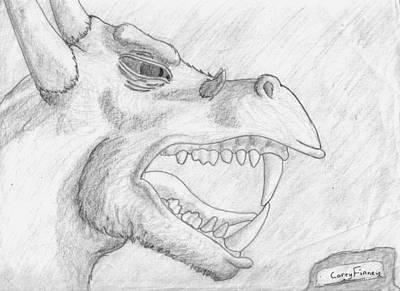 Corey Drawing - Dragon Profile by Corey Finney