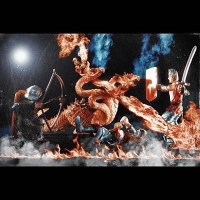 Dragon Photograph - Dragon Slayers #fantasy #toys #dragons by Jason Butts