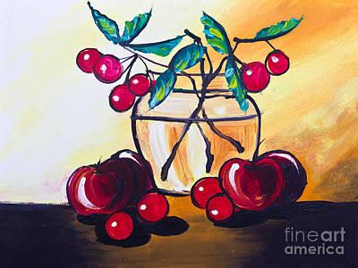 Drawing Of Cherry And Apple Print by Mongkol Chakritthakool