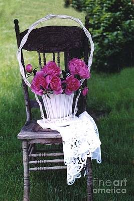 Dreamy Cottage Chic Vintage Pink Peonies In Basket On Old Vintage Chair Print by Kathy Fornal