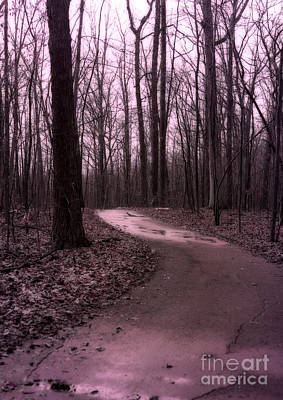 Surreal Landscape Photograph - Dreamy Surreal Fantasy Woodlands Nature Path by Kathy Fornal