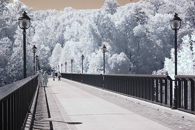 Dreamy Surreal Infrared Bridge Walkway Scene Print by Kathy Fornal