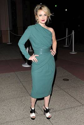 Belted Dress Photograph - Drew Barrymore Wearing An Elie Saab by Everett