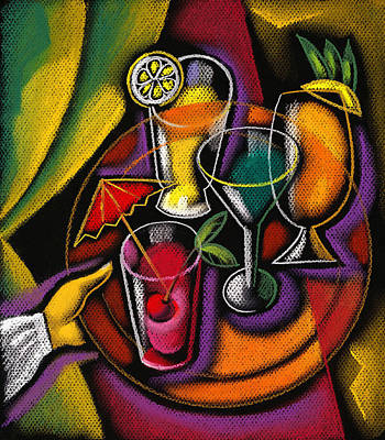 Glass Of Wine Painting - Drinks by Leon Zernitsky