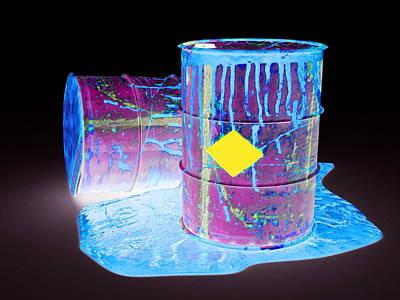 Drums Leaking Toxic Waste, Artwork Print by Christian Darkin