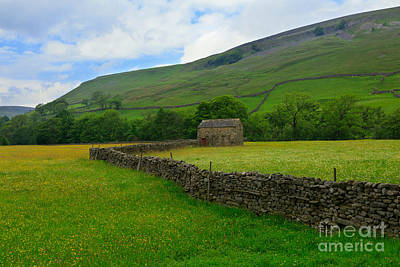 Dry Stone Walls And Stone Barn Print by Louise Heusinkveld