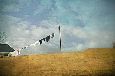 Clothes Pins Photograph - Drying On The Hill by Kathy Jennings