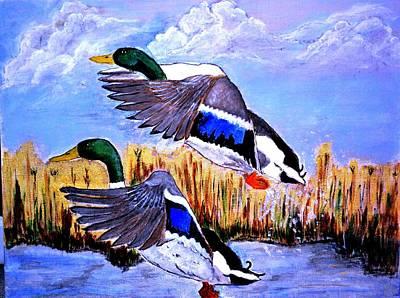 Two Ducks In Flight Painting - Ducks In Flight by Salomi Prakash