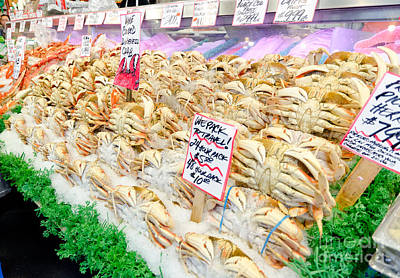 Fish Photograph - Dungeness Crab Whole Cooked Crab Pikes Place Public Market Seattle by Andy Smy