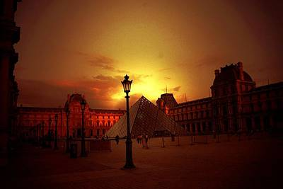 Dusk At The Louvre Print by Carrie OBrien Sibley