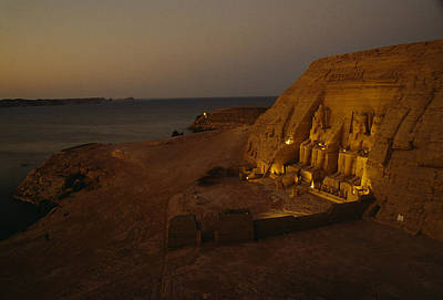 Dusk Descends On Abu Simbel With Lake Print by O. Louis Mazzatenta