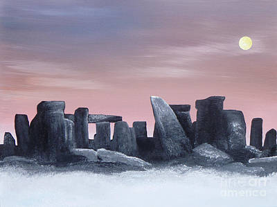 Stonehenge Painting - Dusk On The Winter Solstice At Stonehenge 1877 by Alys Caviness-Gober