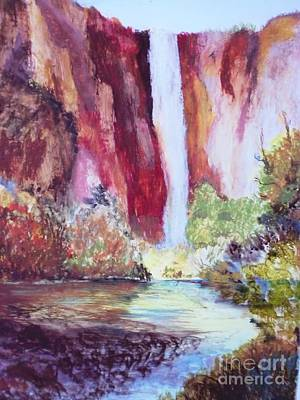 Yosemite National Park Mixed Media - Dusk Over The Yosemite Falls In The Fall by Trilby Cole