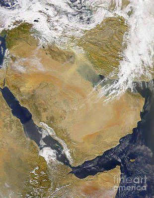 Dust And Smoke Over Iraq And The Middle Print by Stocktrek Images