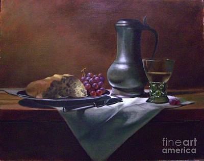 Dutch Roemer With Bread And Grapes Print by Tom Jennerwein