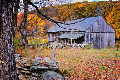 A Hidden Connecticut Rustic Barn-autumn Scenic Litchfield Hills Print by Thomas Schoeller