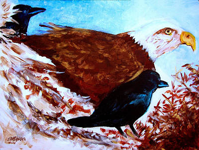 Eagle And Ravens Print by Seth Weaver