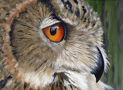 Yellow Beak Painting - Eagle Owl by Mike Lester