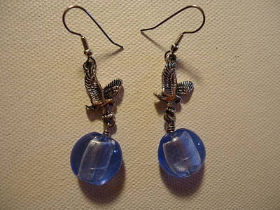 Wire Photograph - Eagle Soars Blue Sky Earrings by Jenna Green