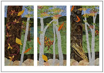Fabric Mixed Media - Early Autumn Triptych by Julia Berkley