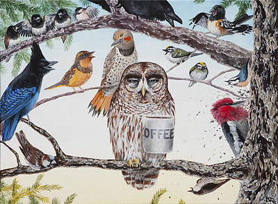 Woodpecker Painting - Early Birds by Beth Davies