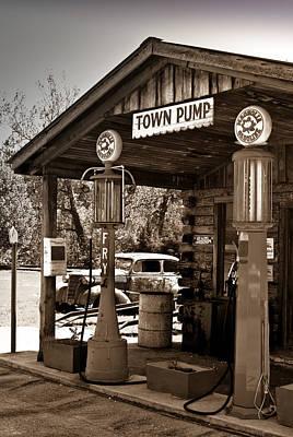 Early Gas Station Print by Douglas Barnett