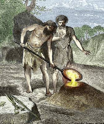Early Humans Smelting Bronze Print by Sheila Terry