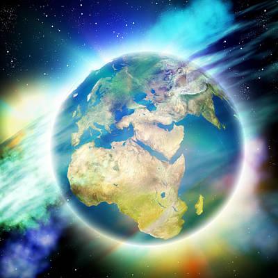 Earth And Nebulae Print by Pasieka