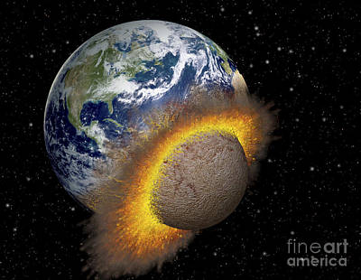Collision Of Worlds Digital Art - Earth Colliding With A Mars-sized by Ron Miller