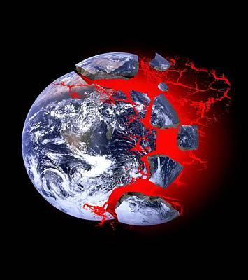 Earth Exploding, Conceptual Image Print by Victor De Schwanberg