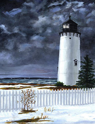 New England Lighthouse Painting - East Chop Light Winter by Paul Gardner