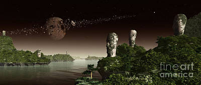 Megalith Digital Art - Easter Island Like Heads On An Alien by Frieso Hoevelkamp