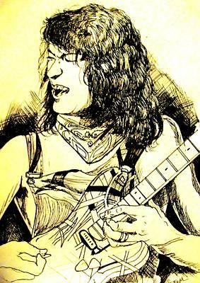 Van Halen Drawing - Eddie by Scott Easom