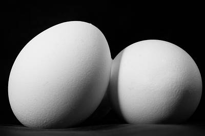 Egg Print featuring the photograph Eggs In Black And White by Lori Coleman